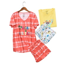 Nouveau grande taille à manches courtes pantacourt pyjamas ensembles femmes été kawaii coton 2 pièces pyjamas vêtements de nuit femmes homewear