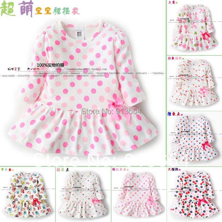 Nuevo 2014 primavera otoño niños Camisetas Bebé y niños ropa niño de manga larga dot Camisetas Bebé niñas princesa vestido camiseta