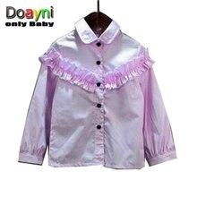 Doayni Baby Korean Style Shirt Purple Color Princess Fan Lace Little Girl Long Sleeve Shirt Turn-down Collar Solid Shirt