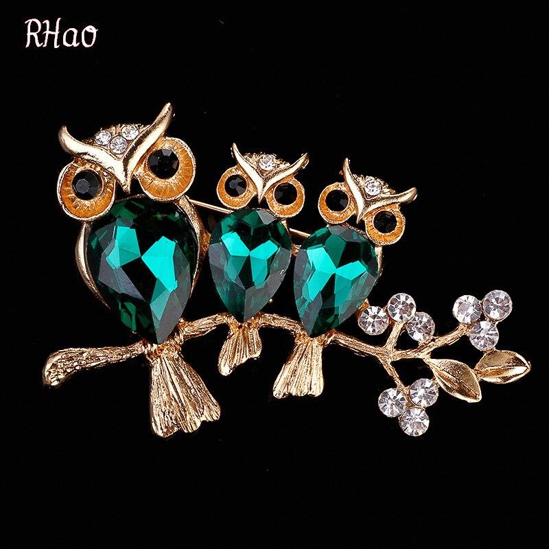 Cute RHao Women Animal brooches for girls dresses jewelry brooch pins Green Arylic 3 owl Brooch broach for women wedding gift