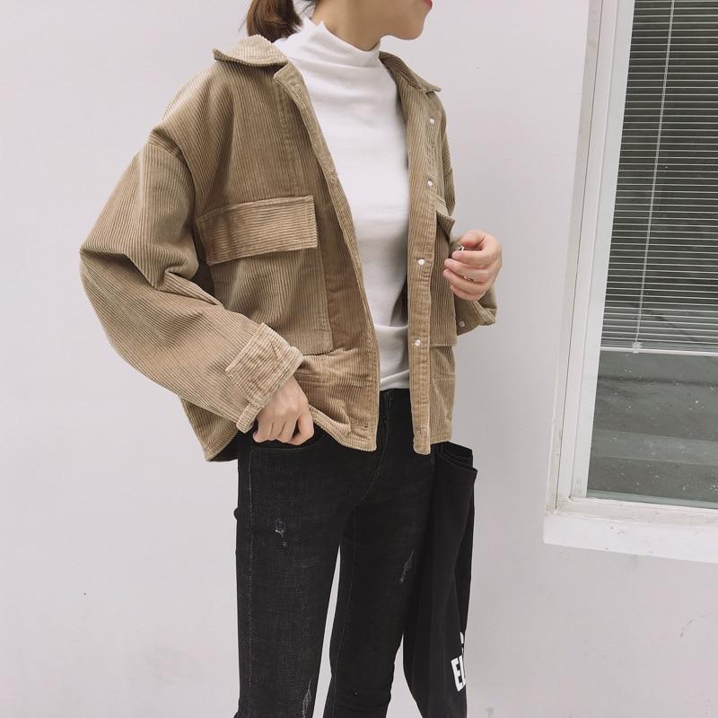 Chaquetas cortas de pana de terciopelo para mujer 2019 de manga larga rompevientos abrigo de mujer otoño Vintage ropa de abrigo básica suave Casual para mujer