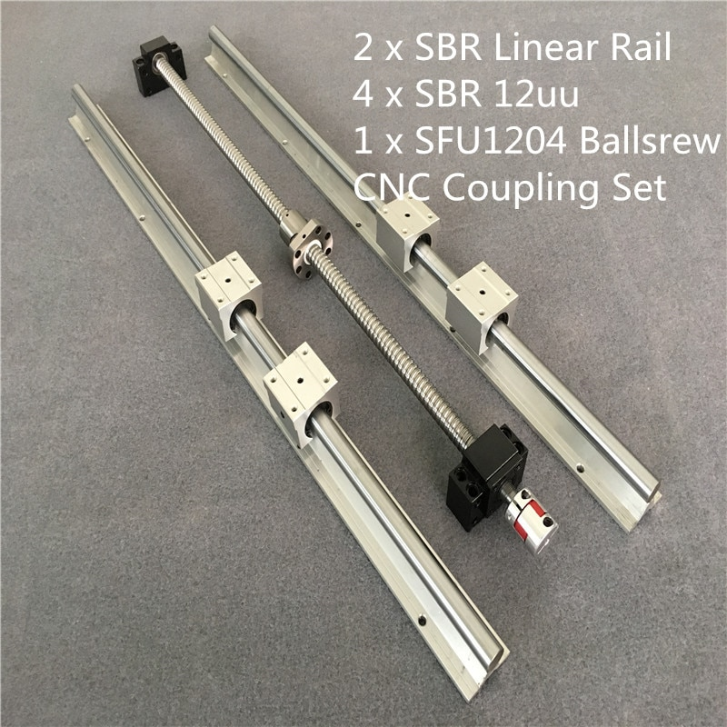 2xSBR + 4xSBR12UU carril lineal de husillo de bolas SFU RM1204-300 400, 500, 550, 600, 800, 1000, 1500mm + BK/BF10 acoplamiento + extremo mecanizado CNC