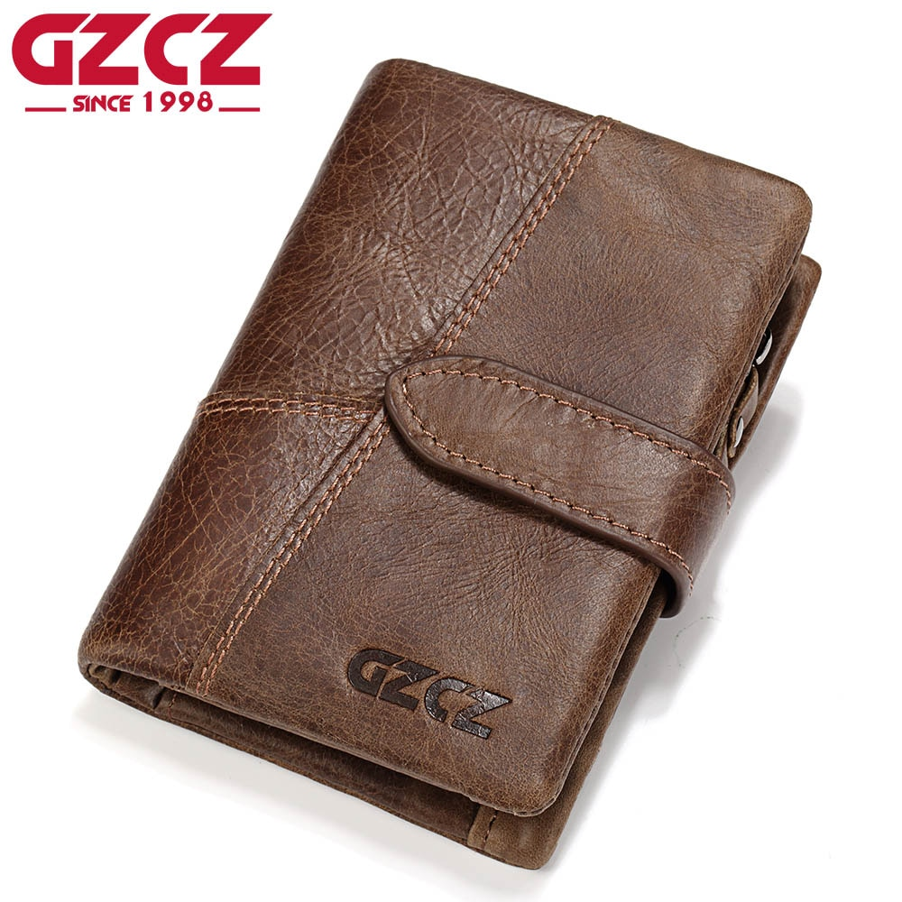 GZCZ Genuine Leather Retro Men Wallets High Quality Famous Brand Hasp Design Male Walet Card Holder for Men's Purse Carteira