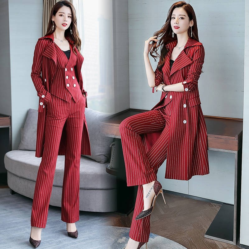 Stylish Striped 3 Piece Set Women Spring Goddess Conjunto Feminino Year-old Female Costume Ensemble Femme Deux Pieces Pant Suit