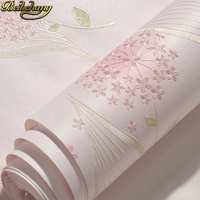 beibehang Warm pastoral non-woven self-adhesive wallpaper simple bedroom 3D stereo living room TV background wall paper beautiful europe flowers wallpaper self adhesive non woven 3d floral wallpapers roll living room bedroom mural wall paper qz104