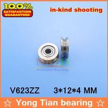 V623ZZ-roulement à molette à rainure en V   3*12*4mm, poulie pour broderie V623 623V 623VV V
