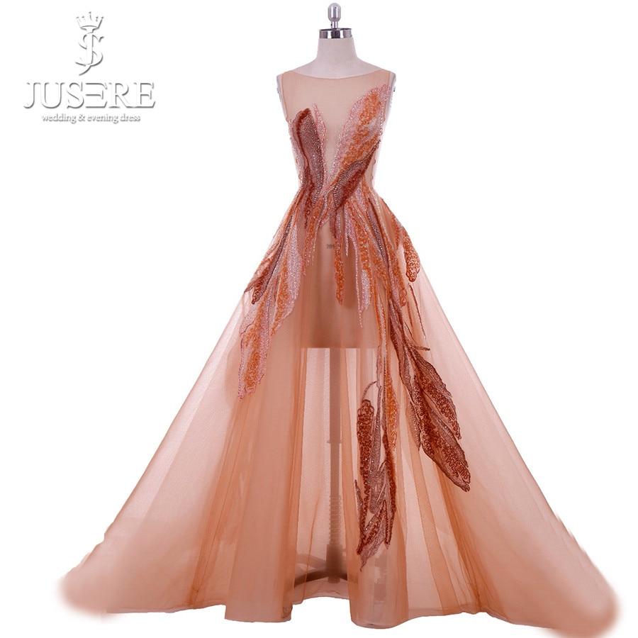 فساتين سهرة من Jusere Haute Couture حقيقية بصور مطرزة على شكل حرف a مع ثياب من التول الكريستالية مع ذيل محكمة