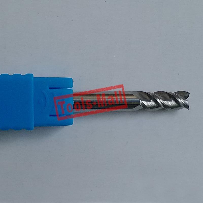 1 pc 10mm D10 * 25 * D10 * 75-HRC50 3 flautas de cortadores de aluminio CNC de herramientas de brocas de enrutador de extremo plano CNC de carburo