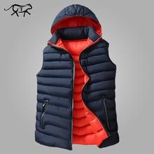 Hommes hiver veste sans manches hommes vers le bas Gilet hommes chaud épais à capuche manteaux mâle coton rembourré travail Gilet Homme Gilet 8XL