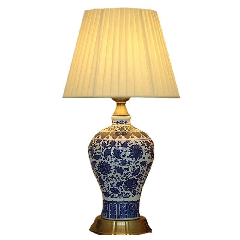 Chiński ceramiczne porcelanowe sypialnia lampki nocne tabeli światła klasycznego brązu bazy pokój do nauki lampa stołowa romantyczna tkaniny lampy biurko