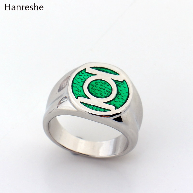 Dc Ring Comics Super Hero Unisex Green Lantern Party Rings for Men Green Enamel Power Ring Movie Fas