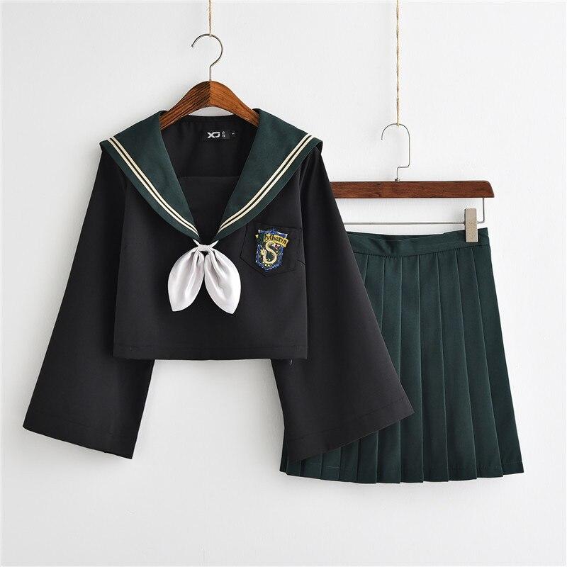 Fantasia feminina cosplay potter, estilo tóquio, vestido feminino, verde, sonserina, uniforme jk, saia plissada, ternos para mulher