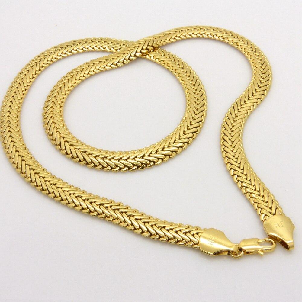 Colar de Espinha De Peixe grosso Yellow Gold Filled Mens Hip Hop Cadeia Colar presente Perfeito