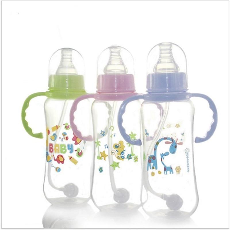 Бутылочка для кормления новорожденных, ширина полости рта, силиконовая соломенная бутылка для молока, 150/280 мл, с ручкой