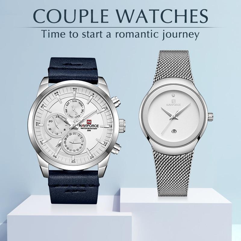 NAVIFORCE Lover-ساعات معصم عصرية للرجال والنساء ، ساعة التاريخ ، مقاومة للماء ، للزوجين ، مجموعة هدايا للبيع