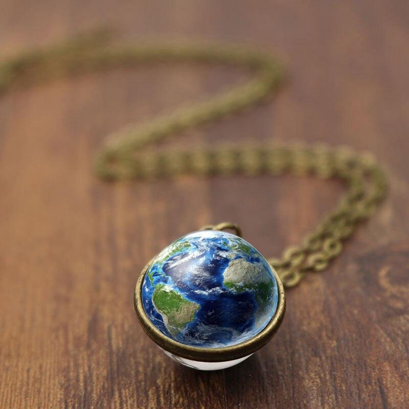 Collar con colgante de mapa del mundo de la galaxia de la vendimia de moda collar de bola de cristal de la tierra azul para las mujeres boda Cadena de joyería de regalo al por mayor