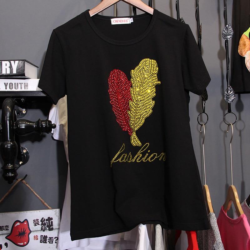 Camiseta de manga corta Hiawatha para mujer, camisetas de verano con estampado de plumas, camisetas de algodón coreano negro TX070