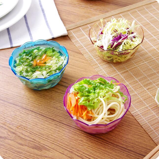 Saladeira de Plástico Prato de Frutas Estilo Japão Colorido Transparente Saladeira Lanche Tigela 4 Peças – Lote Pequeno Cristal