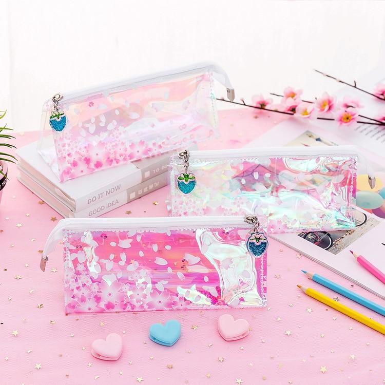 1 unidad de estuche de lápiz de lentejuelas láser colorido Kawaii Cherry Blossom transparente estuche de lápiz grande papelería caja de lápiz para regalo de niñas