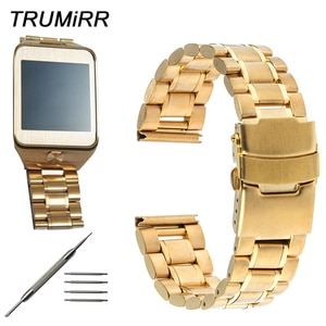 22mm Stainless Steel Watch Band Clasp Buckle Strap Bracelet for Samsung Galaxy Gear 2 R381 R382 R380 Moto 360 2 Gen 46mm 2015