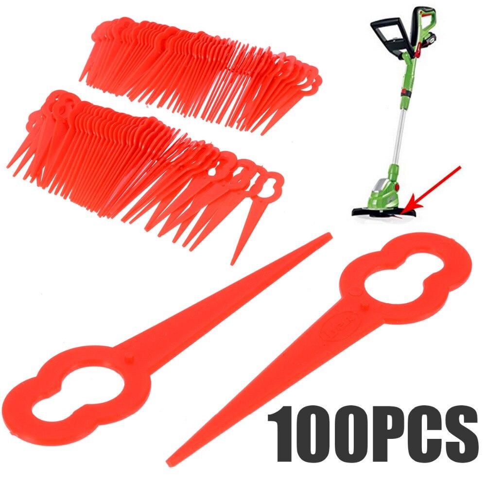 100 шт качели запасные Подвески с лезвиями пластиковый резак для беспроводной травы триммер садовый Тиммер части инструмента