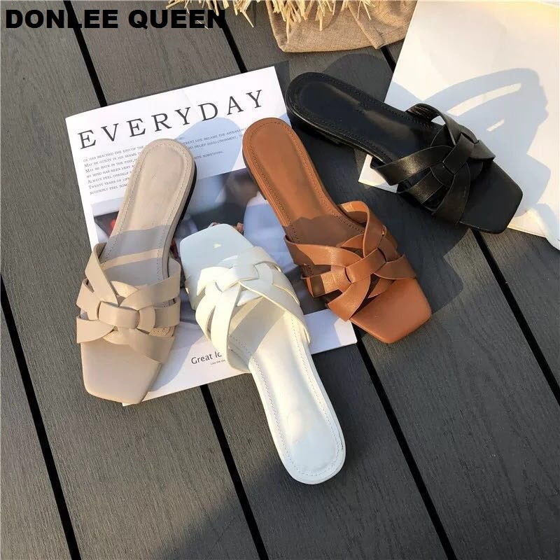 DONLEE QUEEN Women Brand Slippers Summer Slides Open Toe Flat Casual Shoes Leisure Sandal Female Beach Flip Flops Big Size 41