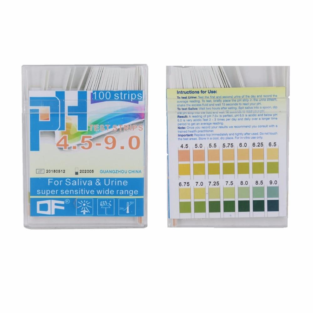 0.25 precyzja 100 pasek 4.5-9.0 PH wskaźnik poziomu kwasu alkalicznego papier wody ślina lakmusowy zestaw PH papier testowy 20% off
