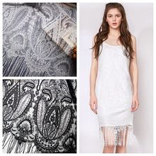 150CM/Pcs White Black High-quality Embroidery Fringe Eyelash Lace Fabric Wedding Dress Veil Skirt DIY 130CM Wide VK1542