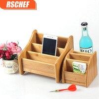 3 grid bamboo TV air conditioning remote control storage box creative wooden office desktop stationery organize storage box