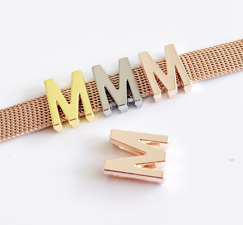 10pcs, DIY accessory, Smoth M Letter Slide Charm Bead DIY 8MM Pet Collar Wristband