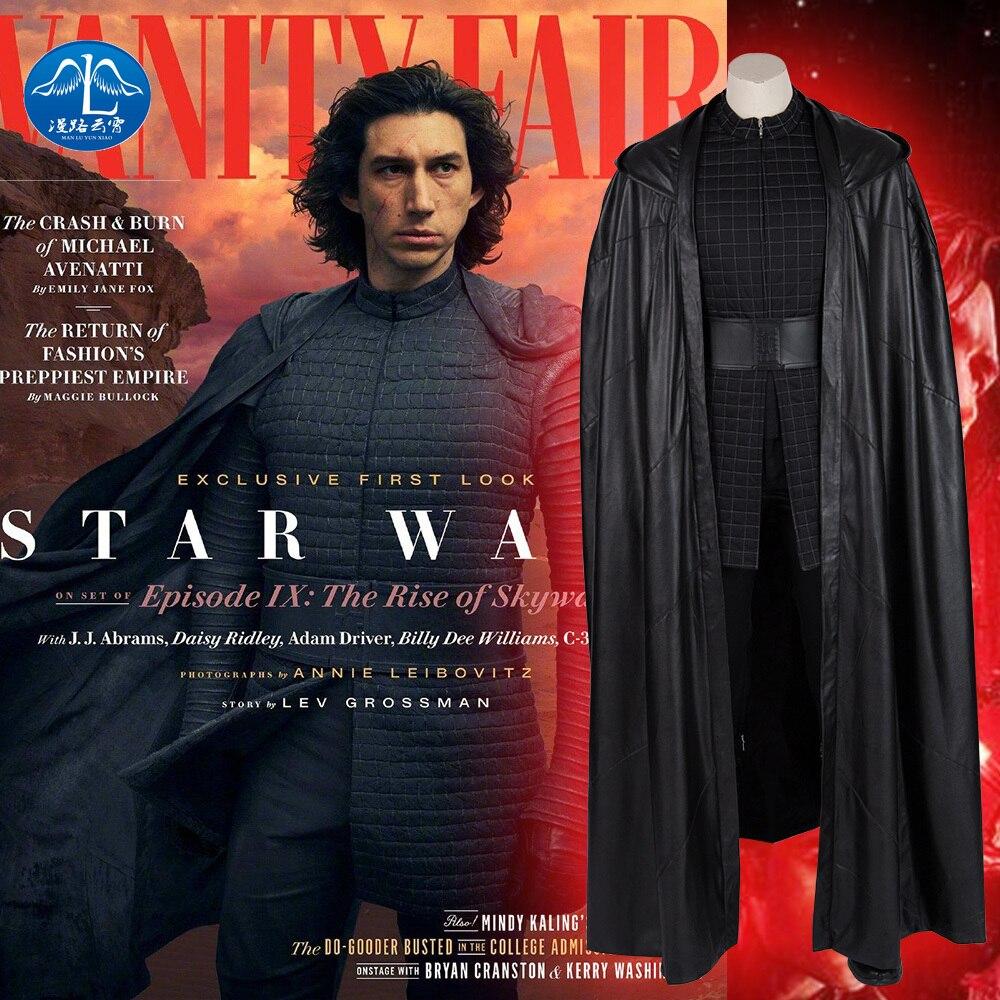 أزياء تنكرية من Manluyunxiao Star Wars 9 The Rise of Skywalker Kylo Ren ، للرجال البالغين ، فيلم الأبطال الخارقين ، مجموعة الهالوين الكاملة ، مصنوعة حسب الطلب