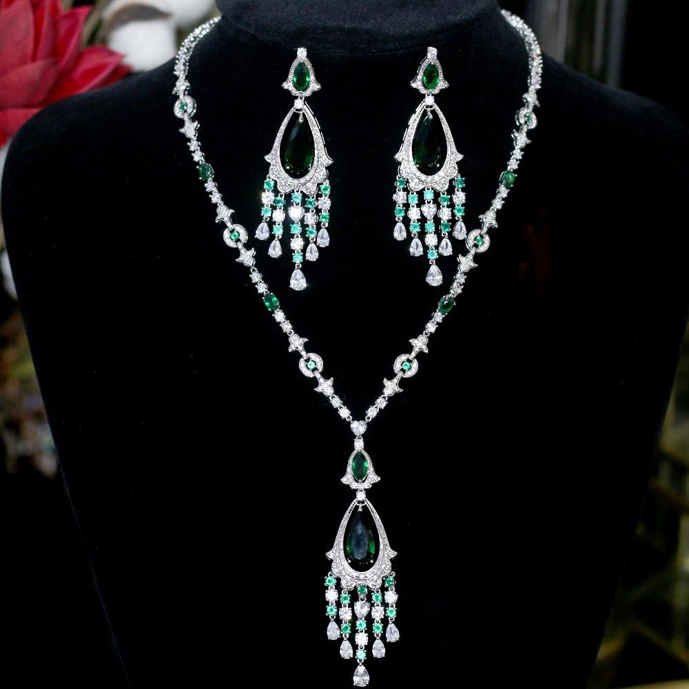 Eleccion verde de lujo mejor circonio cubico collar pendiente set cena joyeria de boda vestido de novia de accesorios