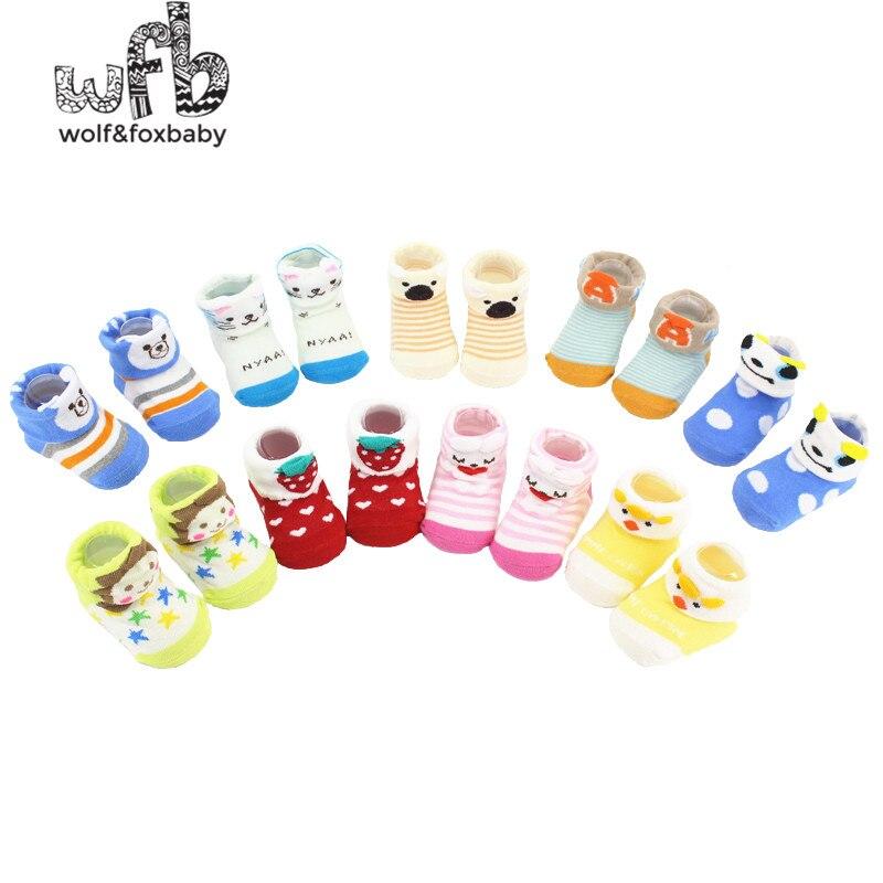 Chaussettes unisexe en coton peigné   6 paires/lot pour enfants de 0 à 10M, bébés nourrissons, nouveau-né, animaux, dessin animé, 2014 printemps ou automne