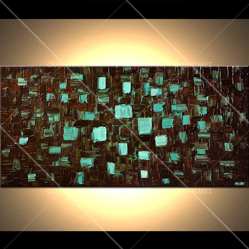 Fondo Negro Azul caja marrón abstracto paisaje pintura hecha a mano cuchillo de alta calidad pintura al óleo para habitación decoración agradable