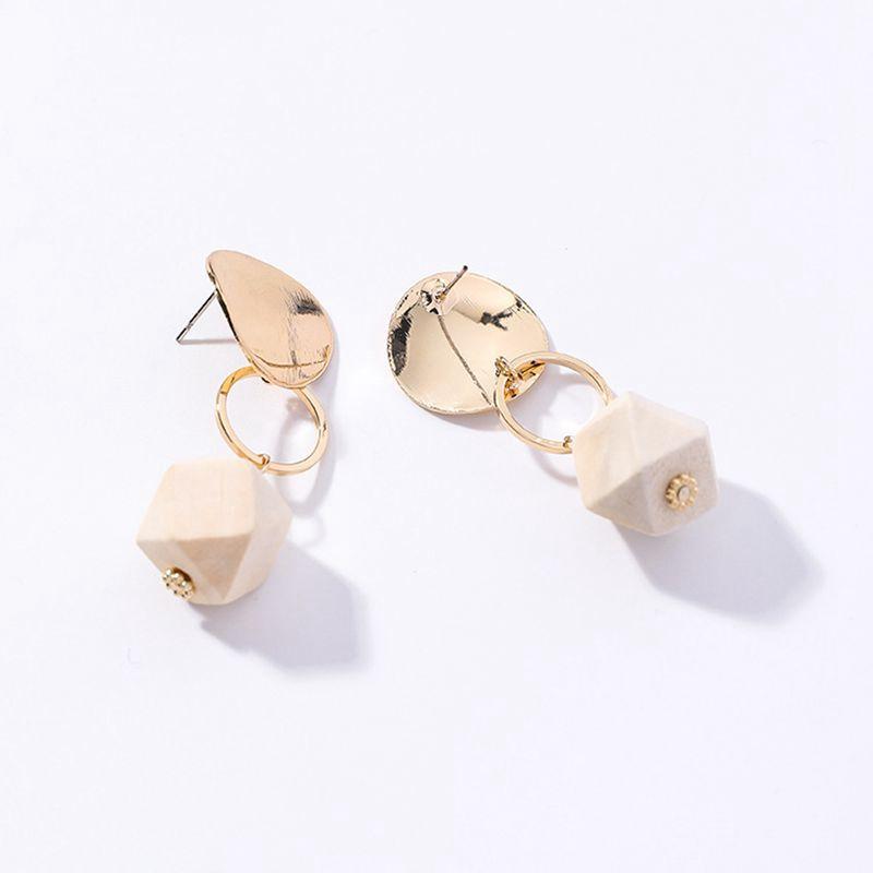 Chicas corazones discos de Metal madera geometría corte esférico colgante pendientes estudiante a la moda regalos de Año Nuevo Drop Shipping lindo A2120