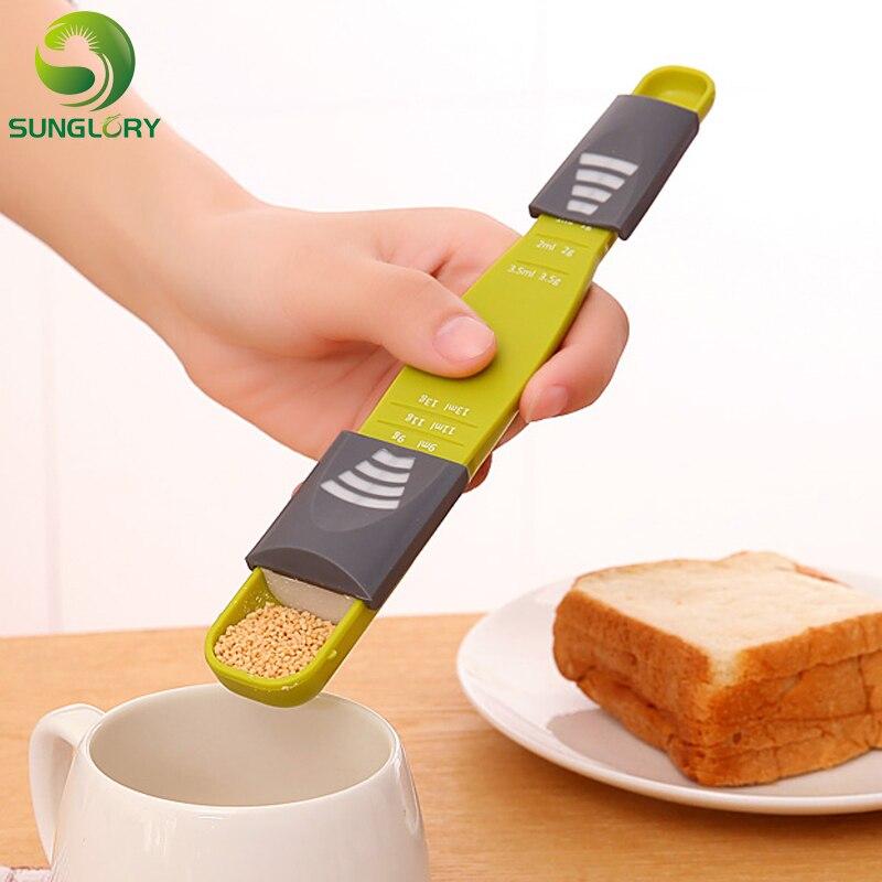 Herramientas de cocina para fondant 9 niveles azúcar cuchara ajustable para medir hornear leche café en polvo escala de medición accesorios de cocina