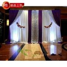 Draperie en soie glacée pour mariage 3*4m   Draperie blanche avec rideau violet, accessoire de scène swag, draperie de mode avec arrière-plan à paillettes