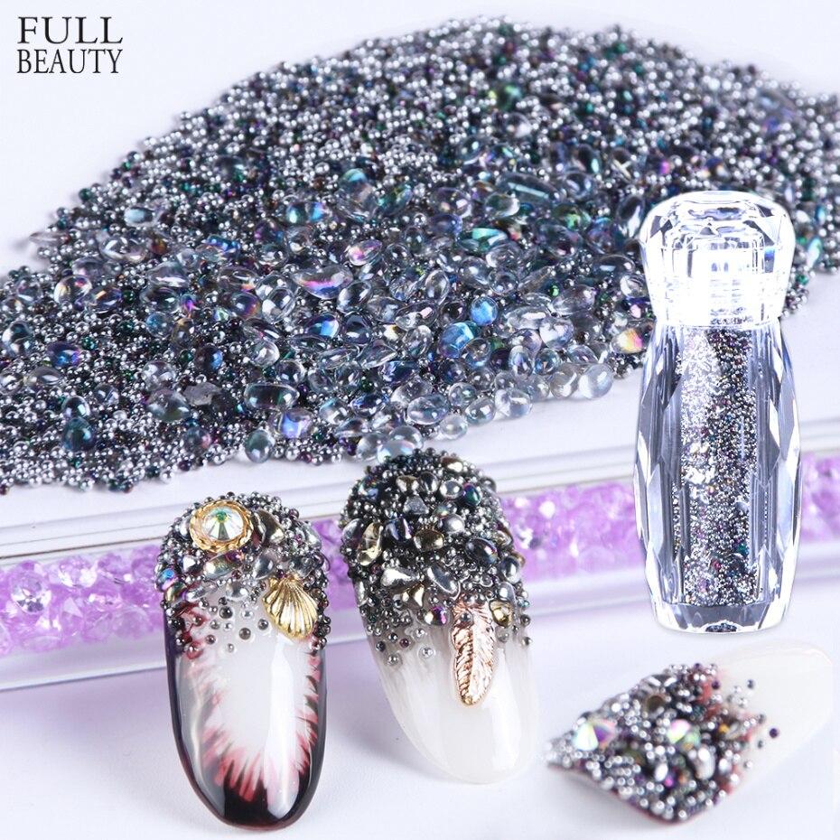 1 Bottle Nail Art Decorations Caviar Beads Crystal Rhinestones Polish Nail Jewelry 3D Design Glass Mixed Shiny Micr Stones CH784