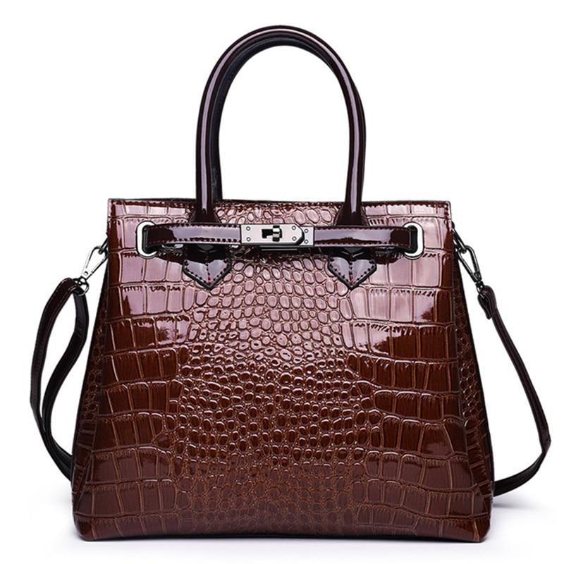 Bolsa de mão de couro feminina, bolsa de marca famosa de luxo feita em couro, estilo crocodilo, 2019