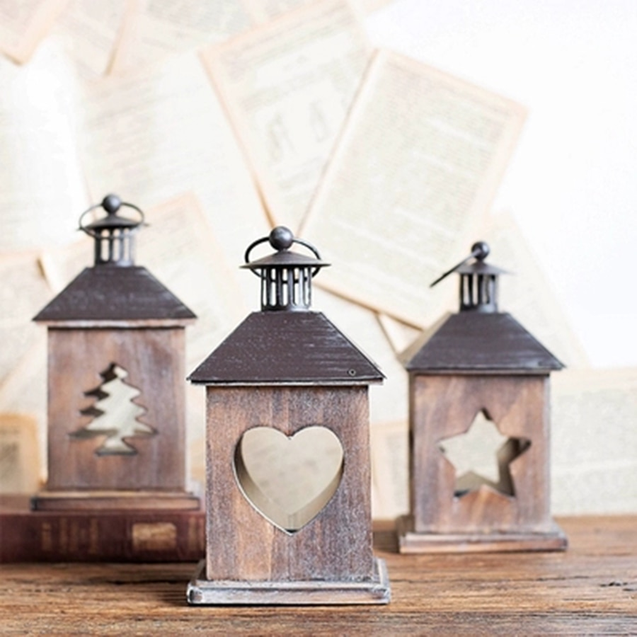 Retro natal metal lanterna árvore de madeira metal lanterna geométrica tealight lustre lâmpada óleo shabbat decoração 6z0055