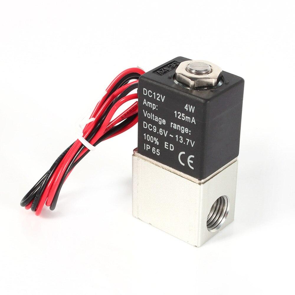 """Válvula de aire solenoide eléctrica de aluminio neumática normalmente cerrada de 2 vías de 1/4 """"12 V DC"""