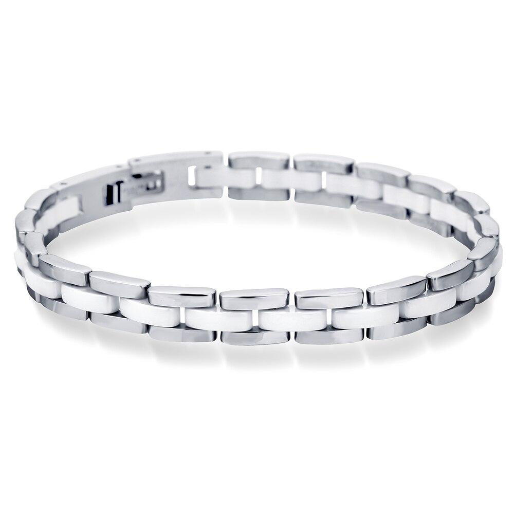 Niba 20cm branco cerâmica pulseira pulseira de aço inoxidável elo de corrente pulseira feminino e masculino jóias