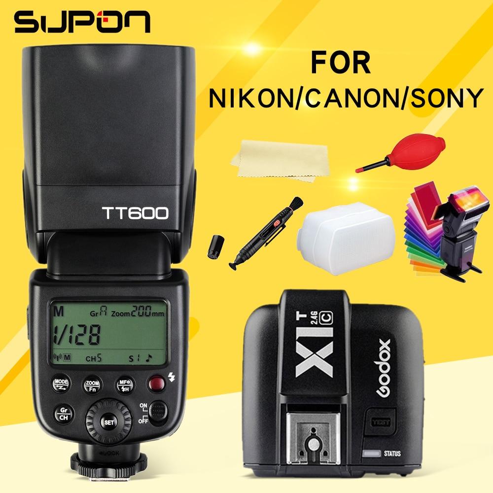 Godox TT600 TT600S Flash 2,4G inalámbrico Speedlite + X1T-C/N/S/F/O inalámbrico disparador de Flash para Canon Nikon Sony Fujifilm Olympus