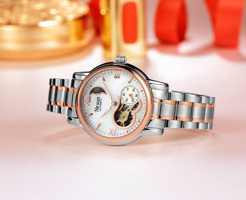 Switzerland New Luxury Brand Nesun Hollow Women Watch Automatic Self-Wind Stainless steel Clock Waterproof Watches women N9061-2 enlarge
