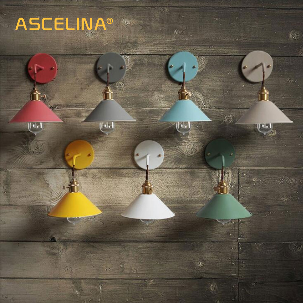 Lámpara de pared moderna, lámpara de pared colorida, aplique para Loft con interruptor, sala de estar americana para lámpara, estudio, dormitorio