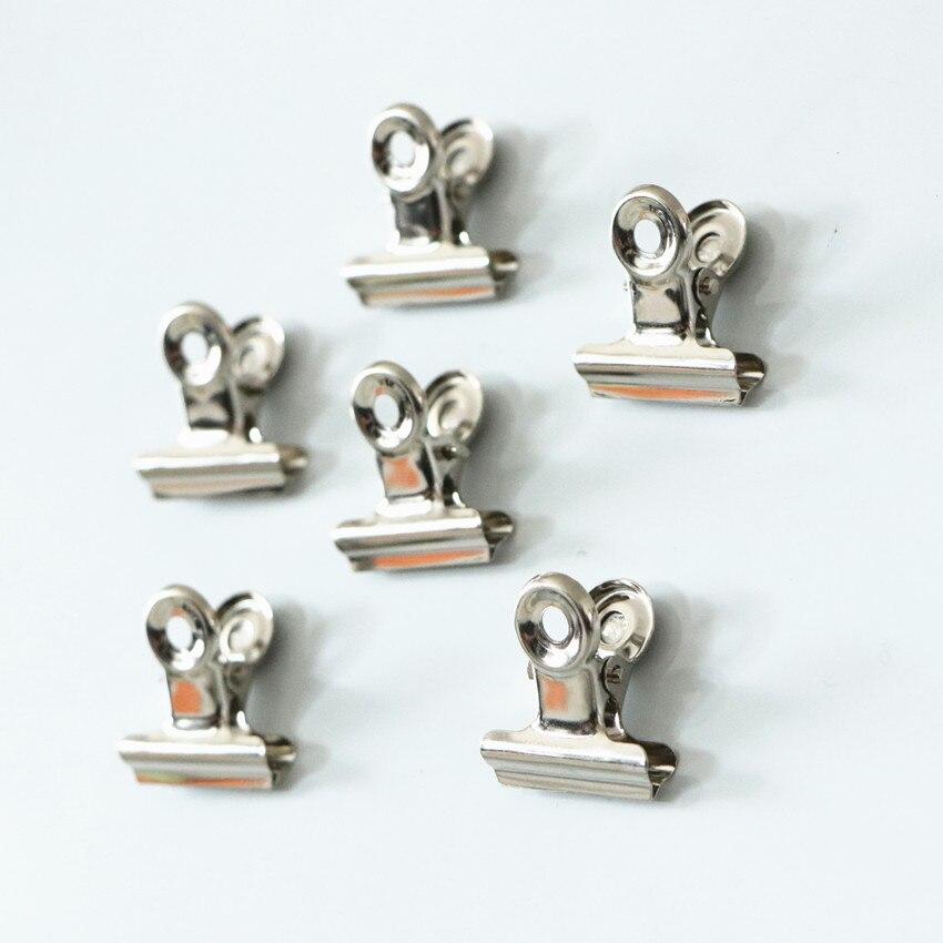 Clip magnético redondo de Metal de 22mm y 30mm para pizarra blanca, clip de Bulldog plateado, clip de acero inoxidable para tickets, suministros de oficina 6 uds.