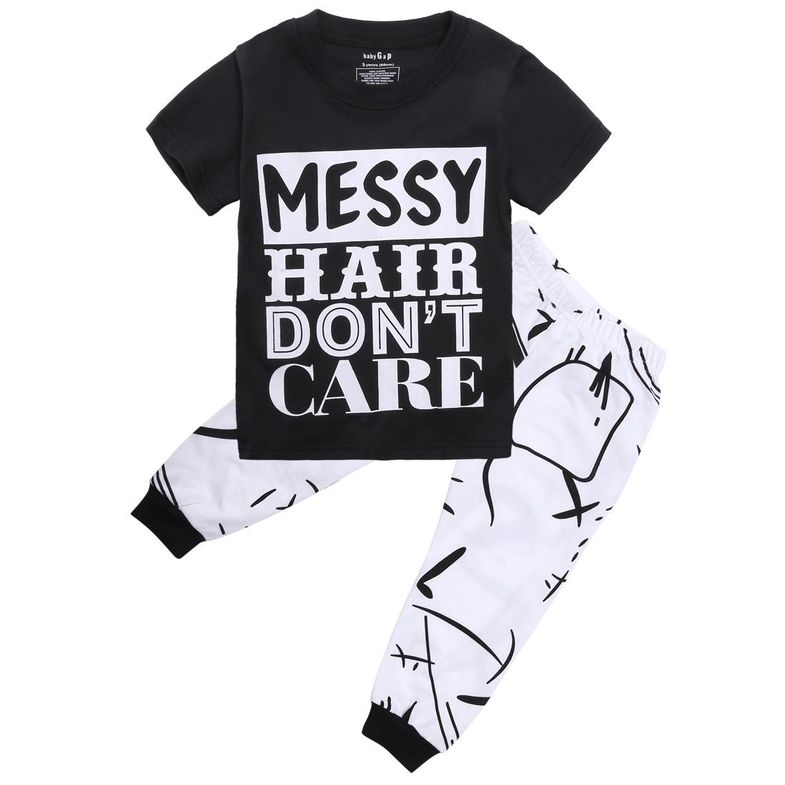 Toddler Infant Newborn Kids Baby Girls Boys Outfit Clothes T shirt Tops Long Pants Trousers 2PCS Set