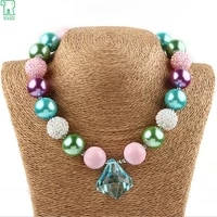 childrens chunky bubblegum necklace princess girls necklace blue crystal pendant necklace for baby children jewelry accessories