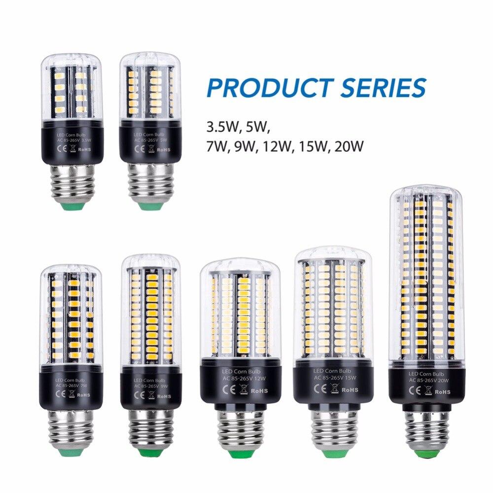 3,5 W 5W 7W 9W 12W 15W 20W Led gran brillo bombilla de maíz E14 alta potencia candelabro luz AC85-265V E27 lámpara Led de aluminio SMD5736