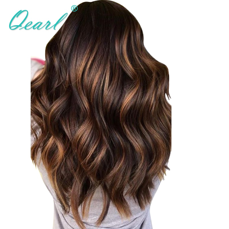 Perruque Lace Front Wig Remy brésilienne naturelle ombrée-Qearl   13x6, pre-plucked, avec Baby Hair, à reflets, free part, Natural Wave